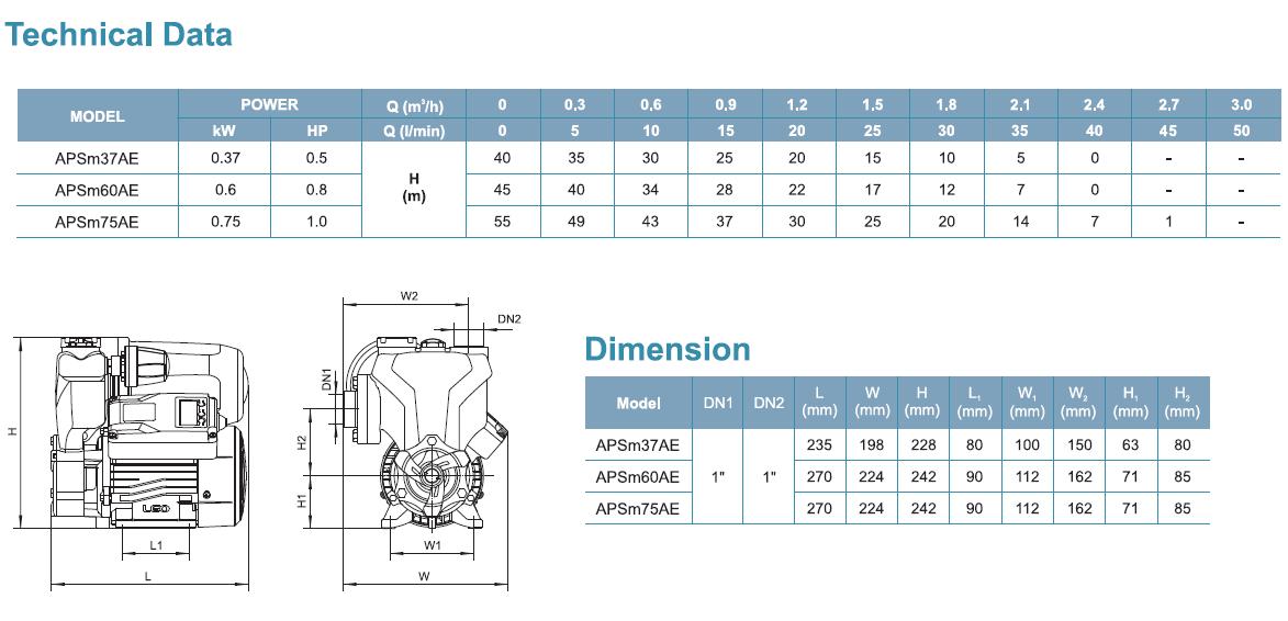 Techanical Data and Dimension ตัวแทนจำหน่าย ร้านขายปลีก-ส่งเครื่องสูบน้ำ-ปั๊มน้ำอัตโนมัติแบบล่อน้ำ LEO APSm37AE (LEO APSm37AE Domestic - Automatic Self-priming Pump) ในประเทศไทย